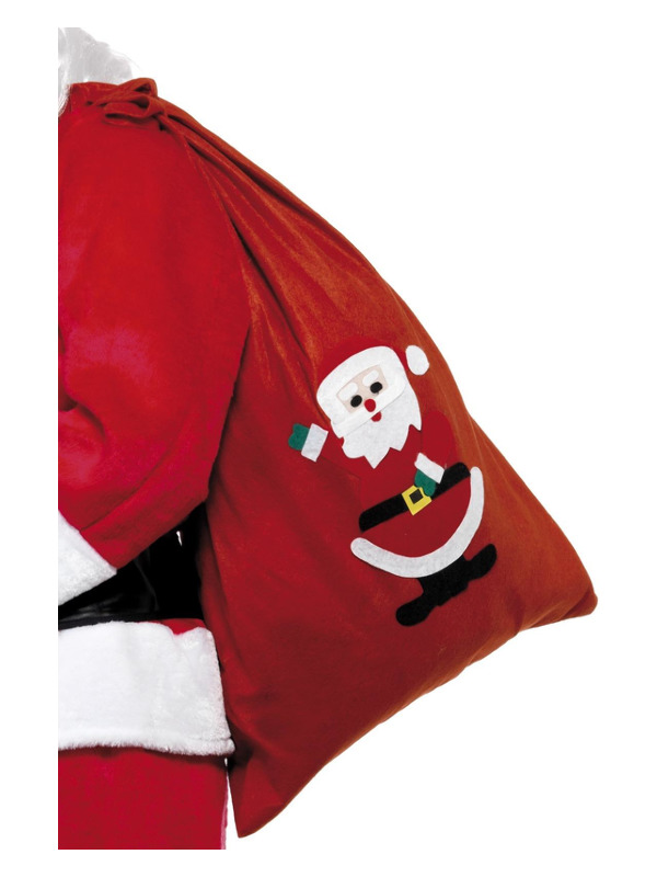 Santa Sack, Red, with Motif & Drawstring Tie, 90x60cm/35x23in