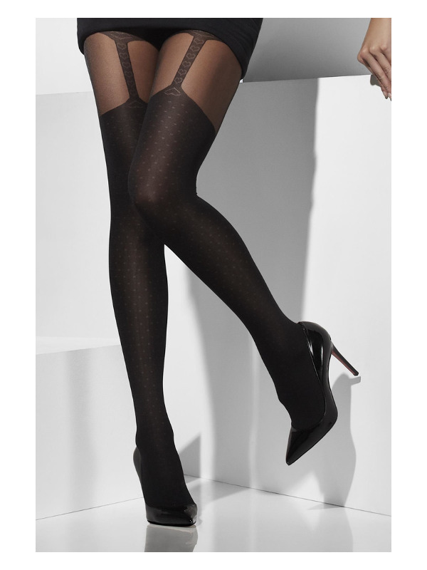 Sheer Tights, Black, with Suspender Print