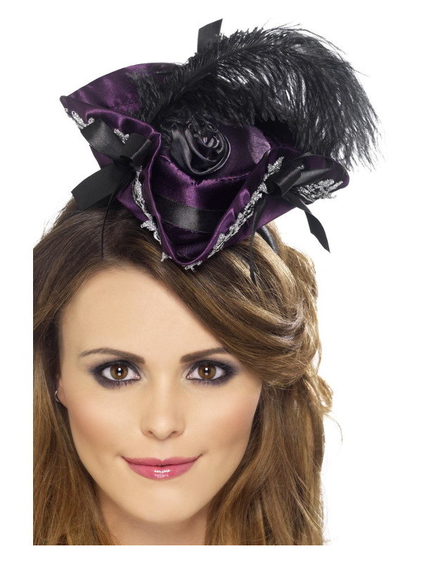 Miniature Pirate Hat on Headband, Purple, with Feather and Rose