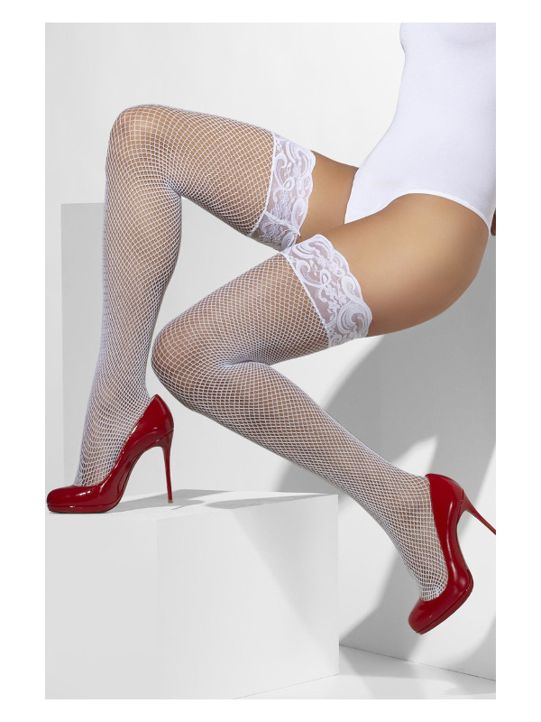 Fishnet Hold-Ups, White, Lace Tops with Silicone
