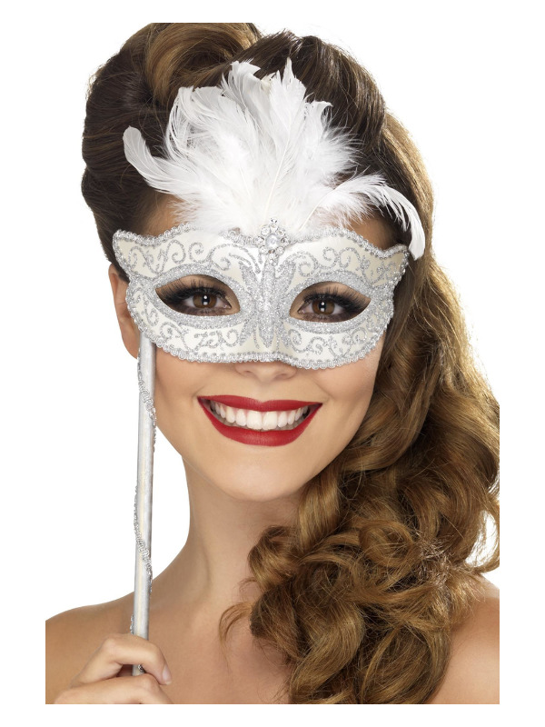 Baroque Fantasy Eyemask, Silver, with Feathers and Handle