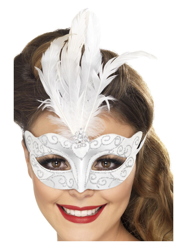 Venetian Glitter Eyemask, Silver, with Feathers