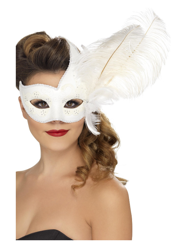 Ornate Columbina Eyemask, White, with Feather