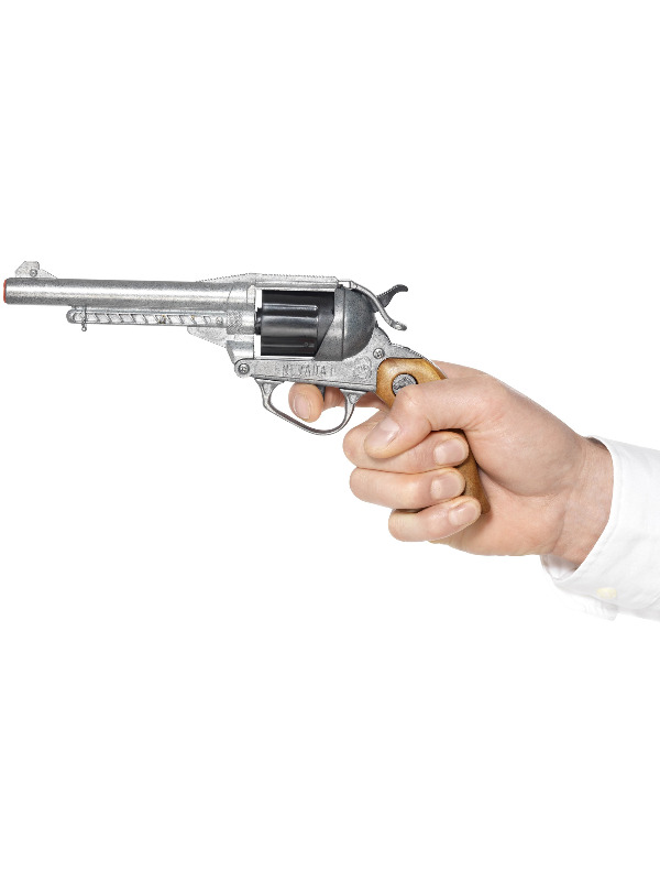 Deluxe Nevada Style Pistol, Silver, Old Metal, 12 Shot