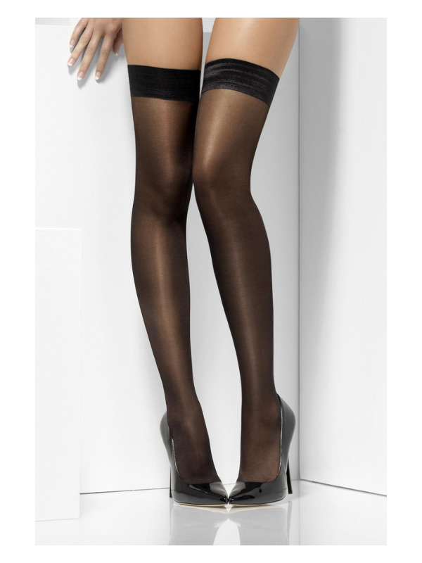 Sheer Shine Hold-Ups, Black, with Silicone