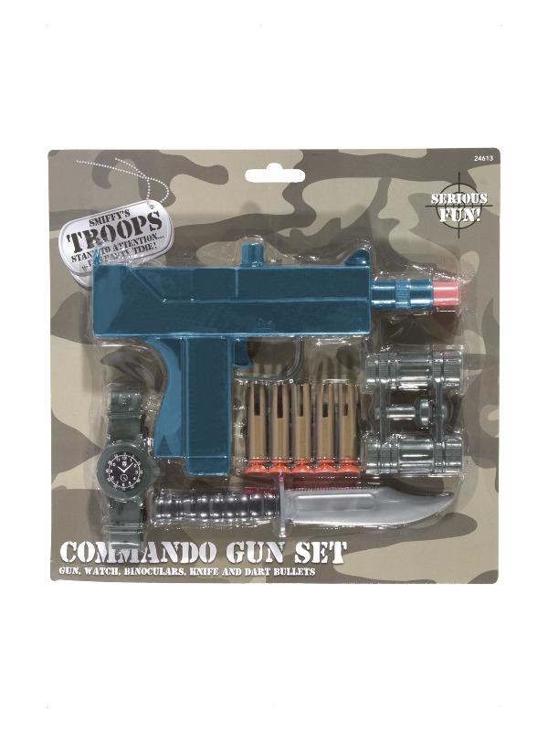 Commando Set, Blue, Gun, Knife, Binoculars, Dart Bullets and Watch
