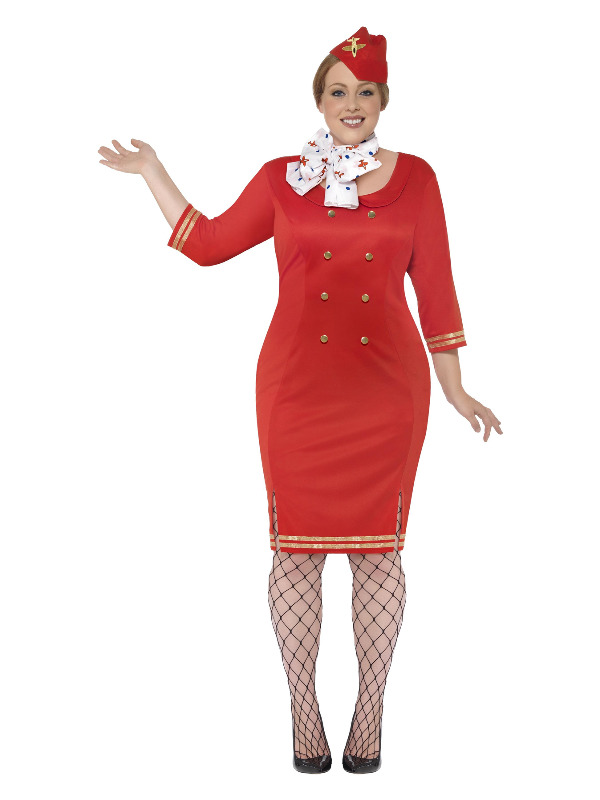 Curves Air Hostess Costume, Red