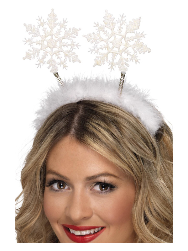 Snowflake Boppers, White, on Headband