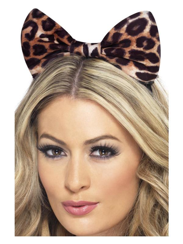 Cheetah Bow on Headband, Brown & Black