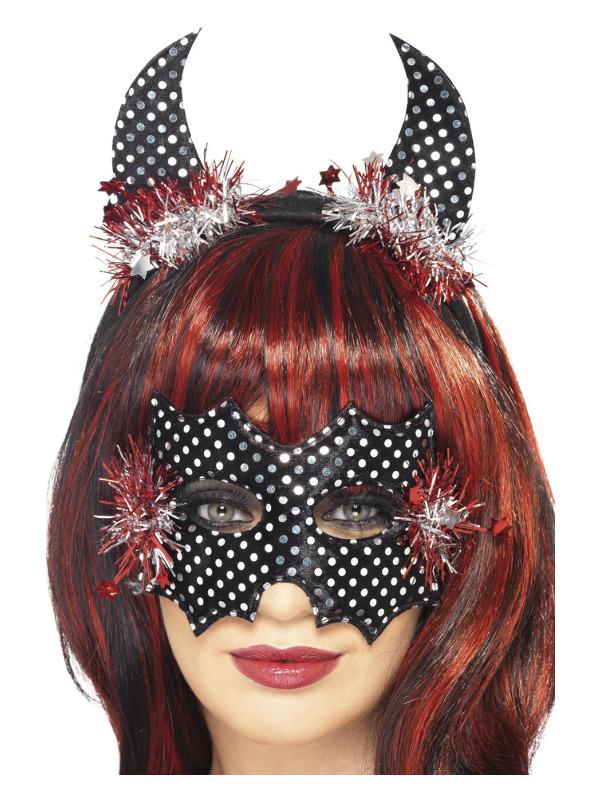 Devildina Mask and Horns Set, Black & Silver