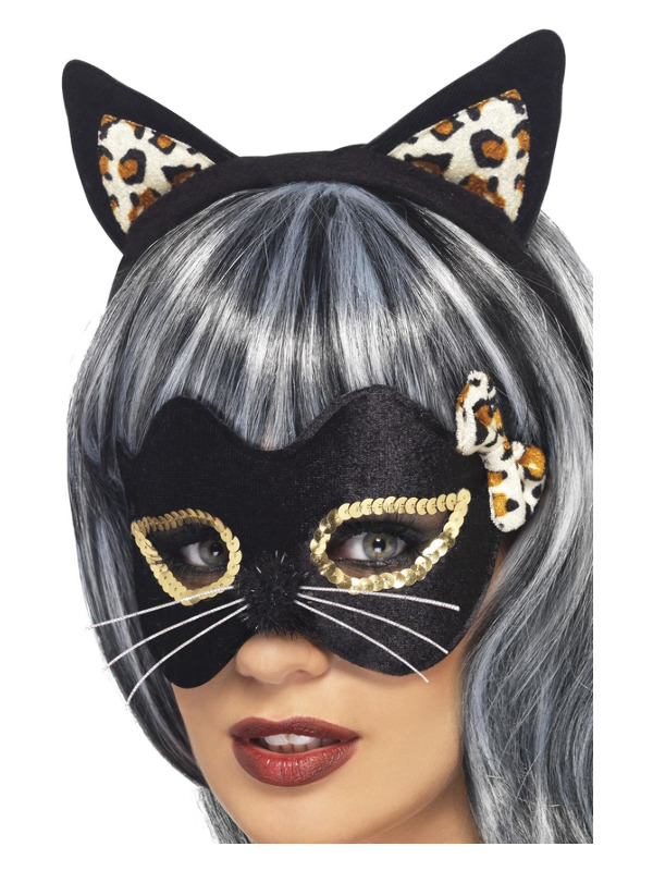 Midnight Kitty Eye Mask & Ear Set, Black, with Leopard Print & Gold Applique