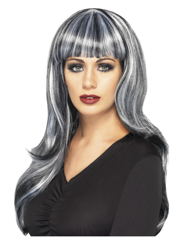 Sinister Siren Wig, Black & Grey, Long, Wavy with Fringe & Grey Streaks