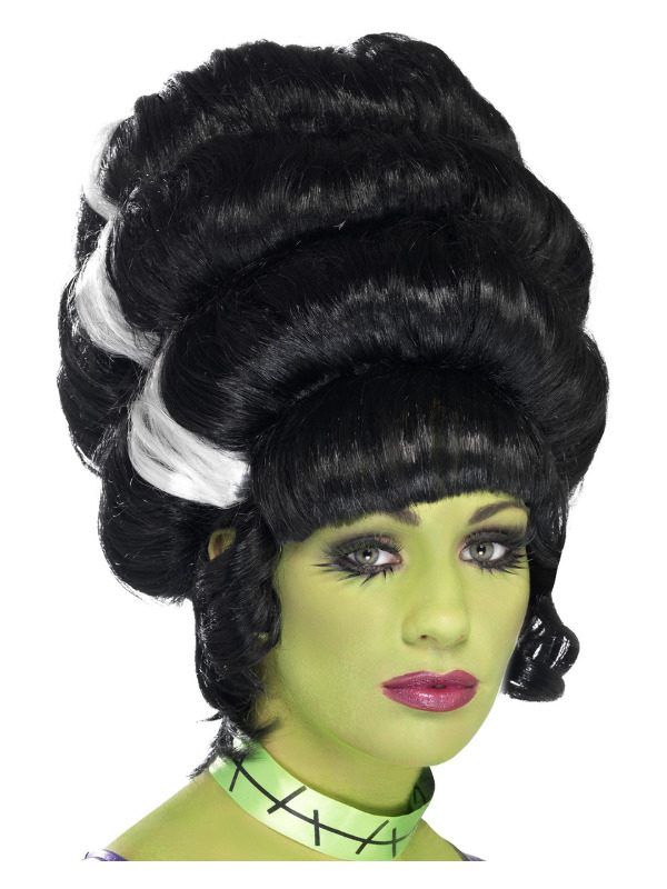 Pin Up Frankie Wig, Black, with White Streaks