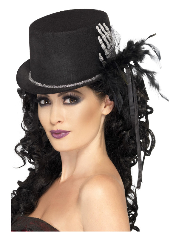 Top Hat, Black, with Skeleton Hand, Feathers & Ribbons