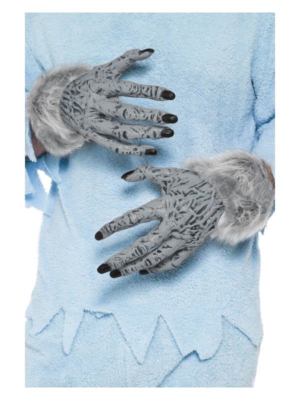 Werewolf Furry Hands, Grey, PVC