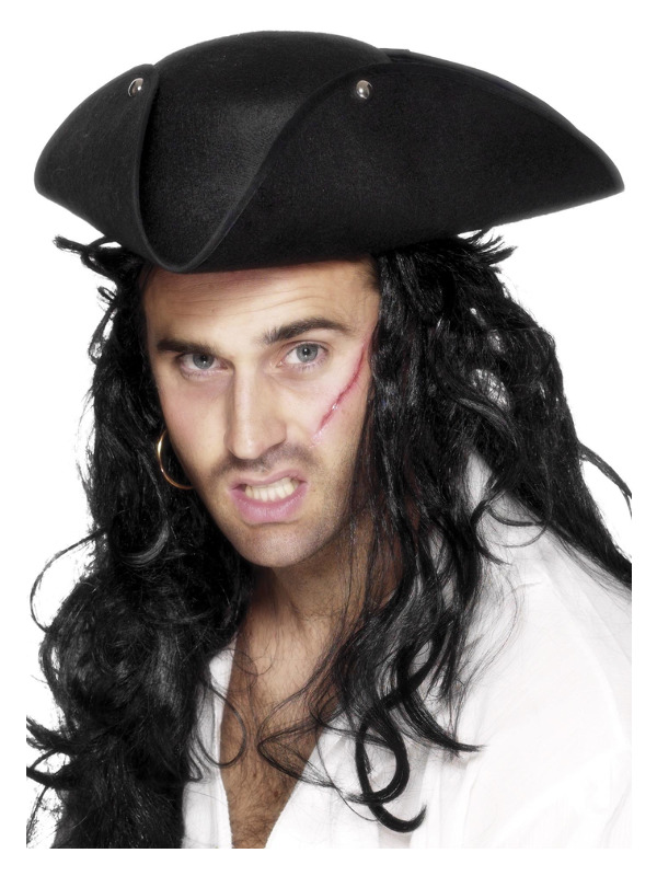 Pirate Tricorn Hat, Black, with Studs