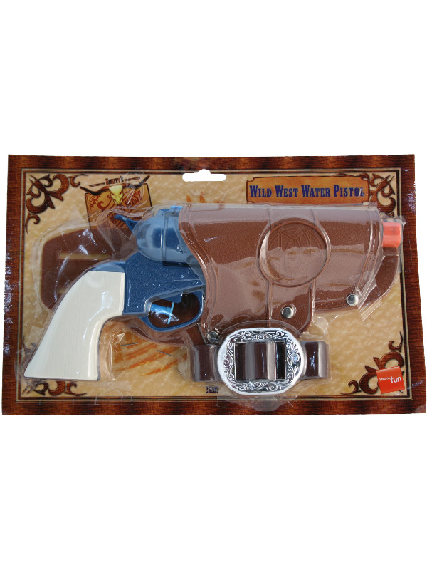 Western Water Pistol, Single Gun, Blue, with Holster and Belt
