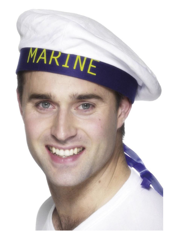 Marine Sailors Hat, White, with Ribbons