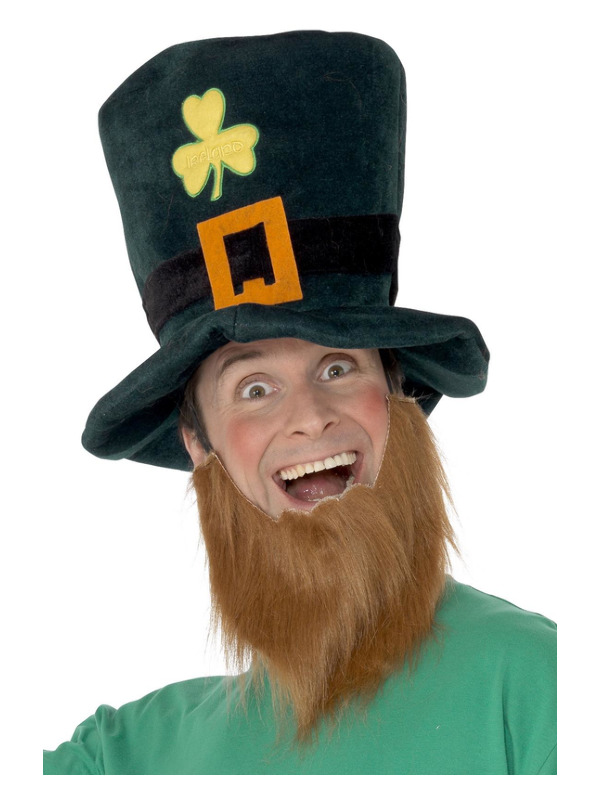 Leprechaun Hat, Green, with Shamrocks, Buckle and Attached Ginger Beard