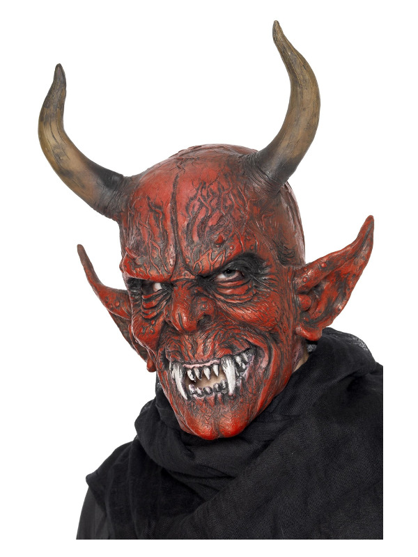 Devil Demon Mask, Red, Overhead, Latex