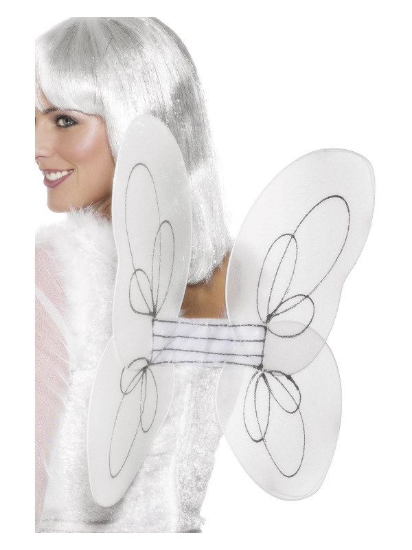 Angel Glitter Wings, White & Silver, 50x30cm/20x12in