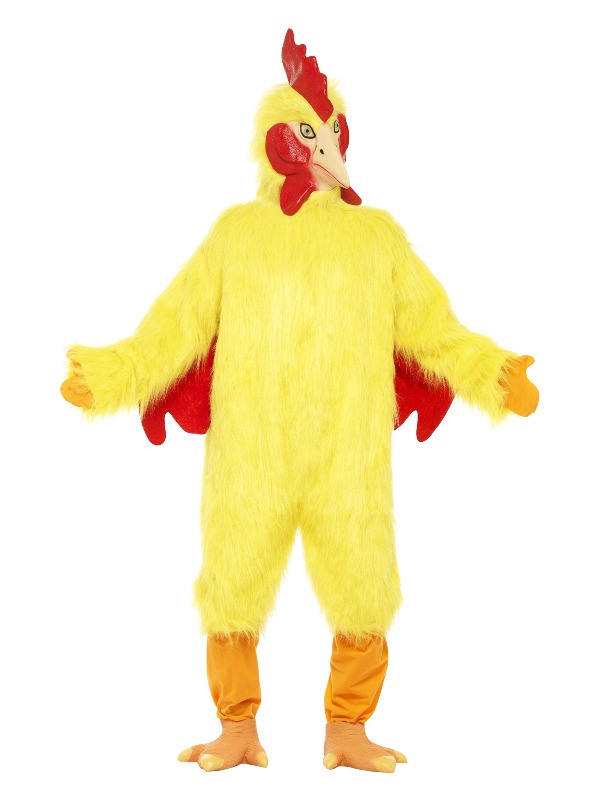 Chicken Costume, Yellow, with Fur Body, Latex  Mask and Feet, Deluxe