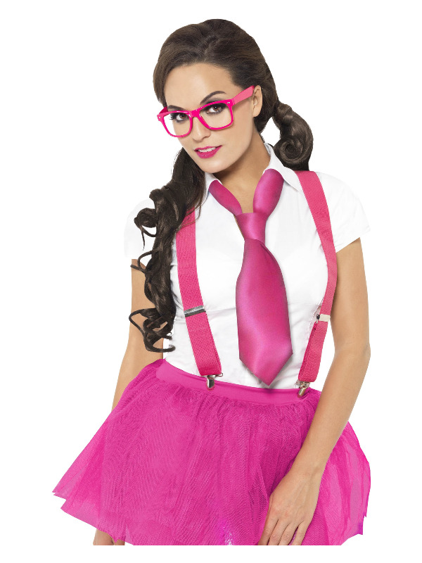 Glam Geek Kit, Pink, with Glasses, Braces & Tie