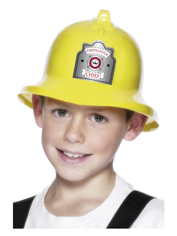 Fire Fighter Hat, Yellow, with Badge