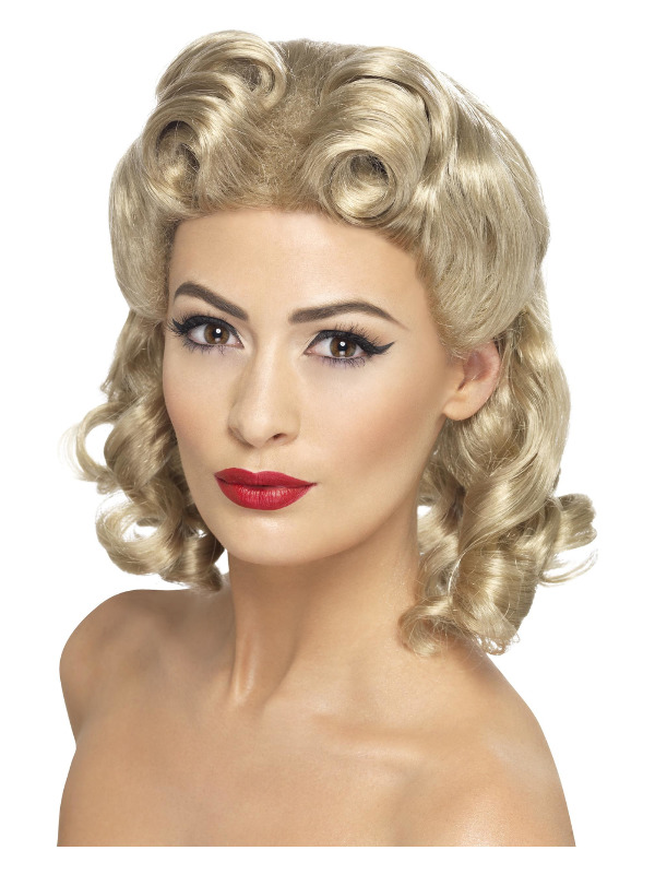40s Sweetheart Wig, Blonde, with Curls