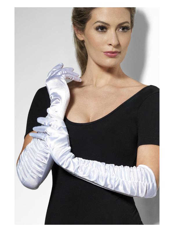 Temptress Gloves, White, Long