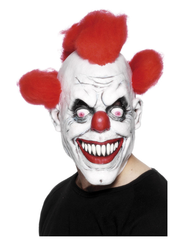 Clown 3/4 Latex Mask, Red & White, with Hair