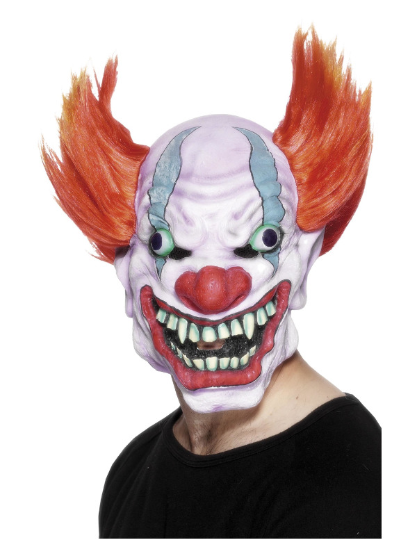 Clown Mask, White, Overhead, Latex
