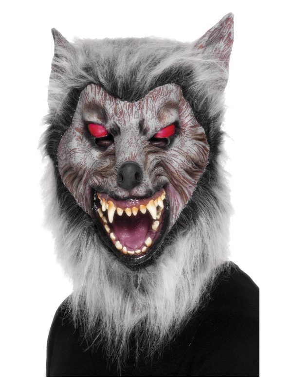 Prowler Wolf Mask, Grey, Overhead, Latex
