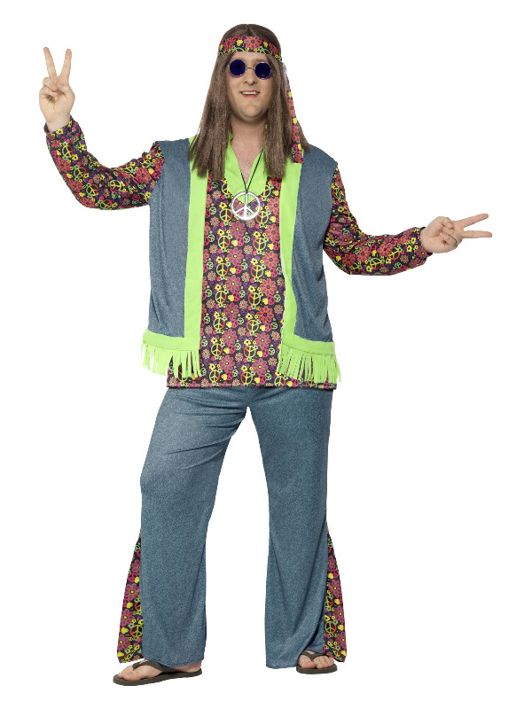 Curves Hippie Costume, Multi-Coloured