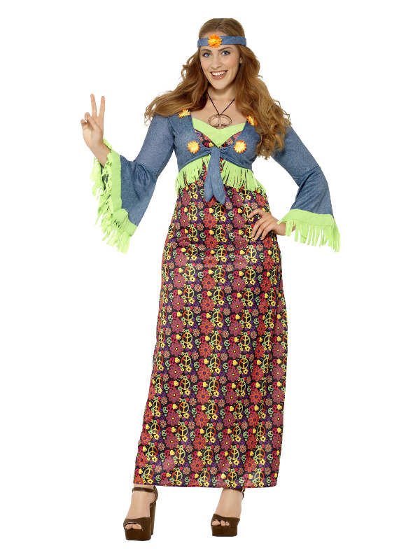 Curves Hippie Lady Costume, Multi-Coloured