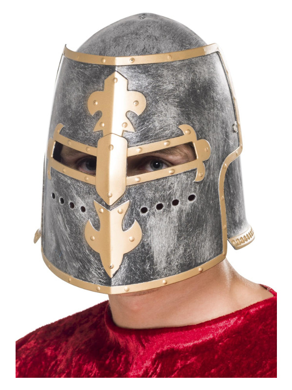 Medieval Crusader Helmet, Silver, with Moveable Face Shield