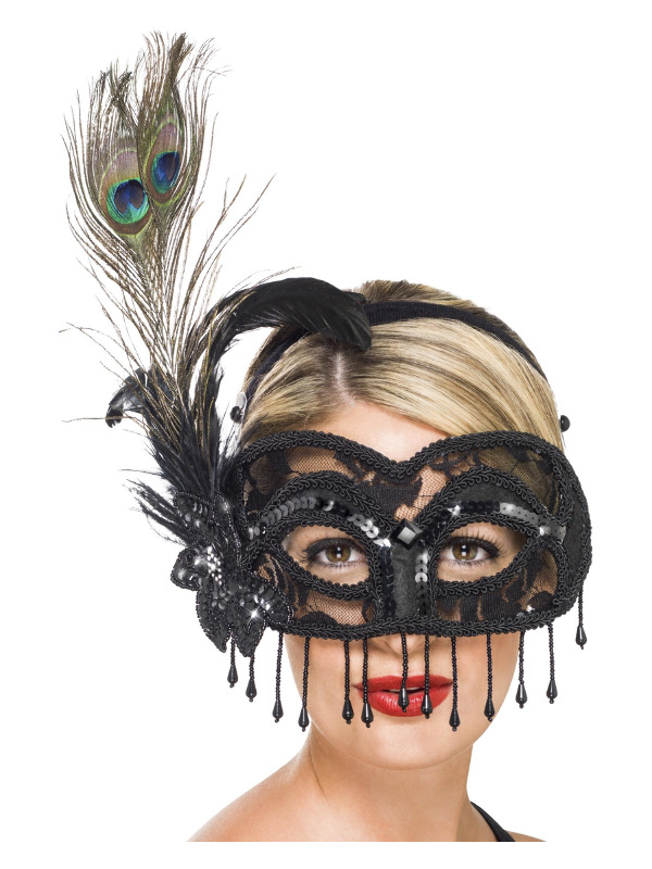 Colombina Lace Eye Mask, on a Headband, Black, with Peacock Feather, Tassels and Flower