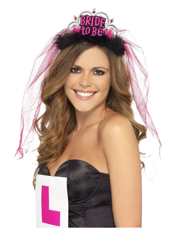 Bride To Be Tiara with Veil, Black, with Pink Lettering
