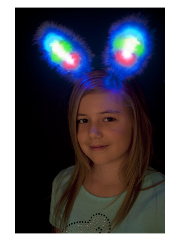 Bunny Ears, Blue, Marabou, with Multi Colour LED