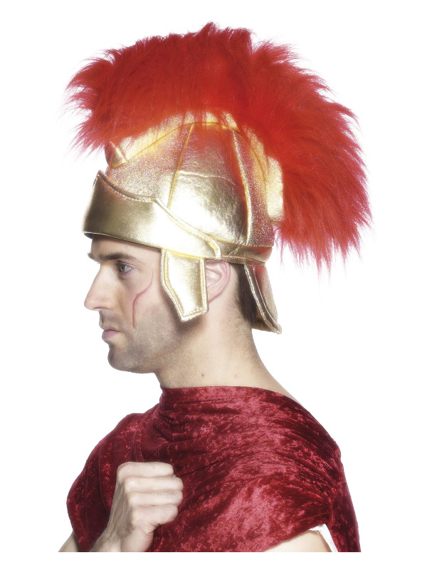 Roman Soldiers Helmet, Gold, with Plume