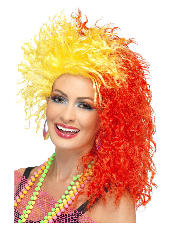 80s Fun Girl Crimp Wig, Red & Yellow