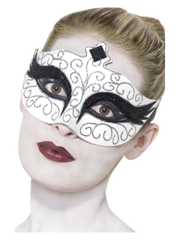 Gothic Swan Eyemask, White, Tie Sides