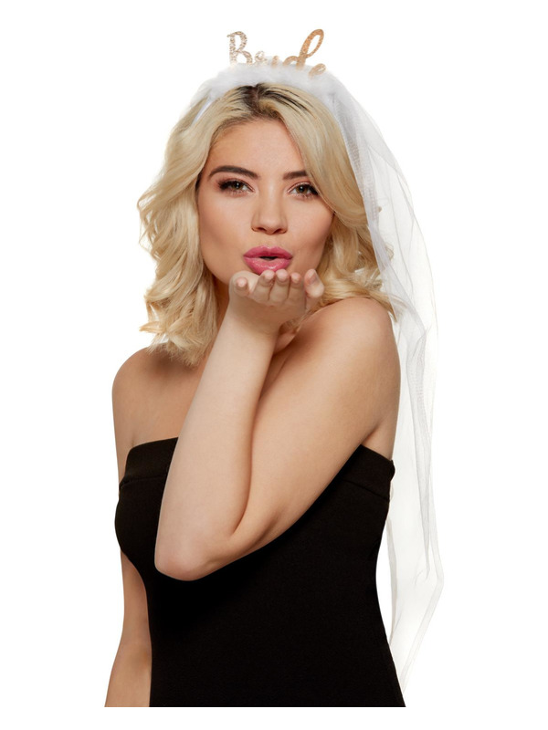 Bride Headband, White, with Veil & Marabou Feathers