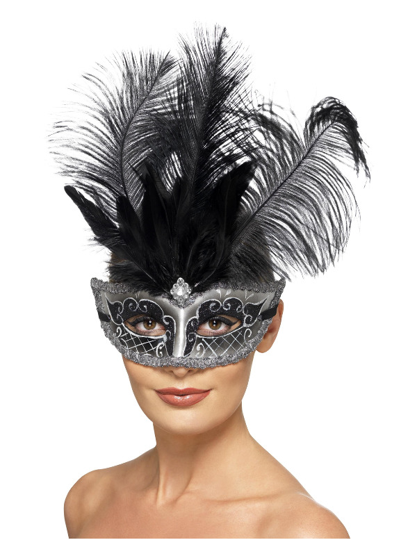 Venetian Colombina Eyemask, Grey, with Black Plumes