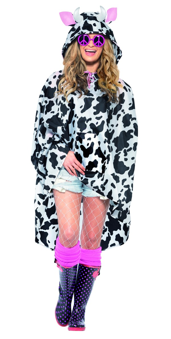 Cow Party Poncho, Black & White, with Drawstring Bag