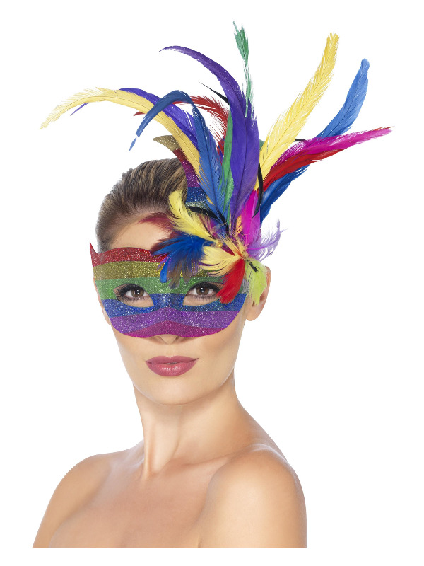 Carnival Eyemask, Rainbow, with Feathers