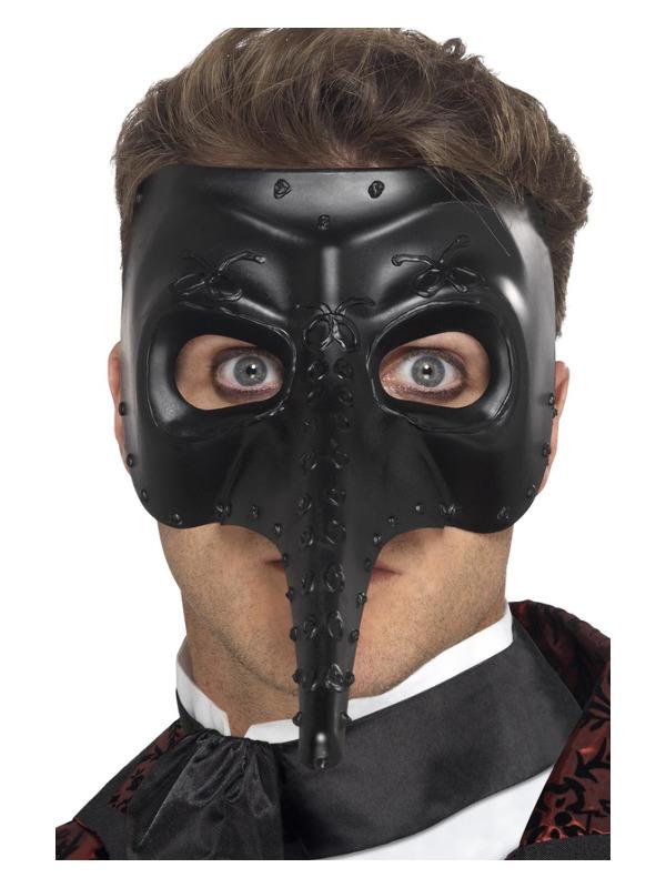 Venetian Gothic Capitano Mask, Black