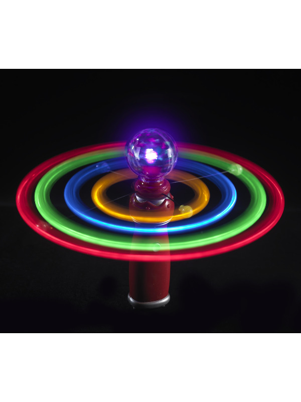 Solar Spinner, Assorted Colours, with Light Up Globe and Spinning Orbit Lights, 20cm / 8in