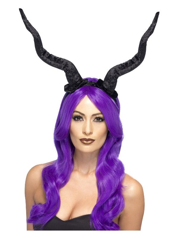 Demon Horns Headband, Black, Flexible
