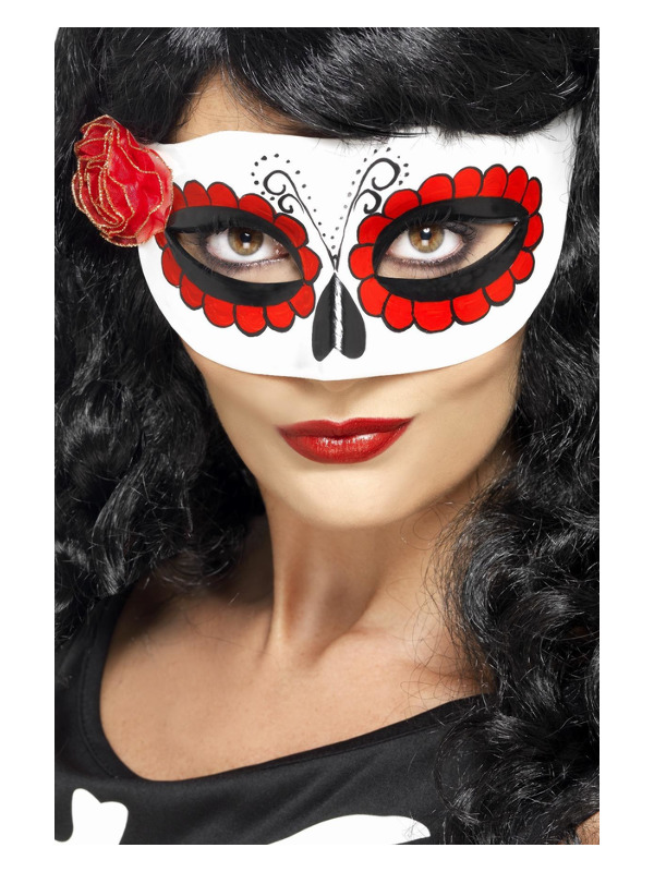 Mexican Day Of The Dead Eyemask, White & Red, with Rose
